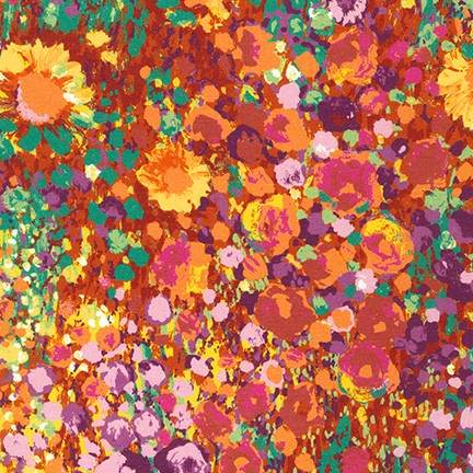 Quilting Fabric SRKD-19148-193 SUMMER from the Painterly Petals Collection from Robert Kaufman Fabrics