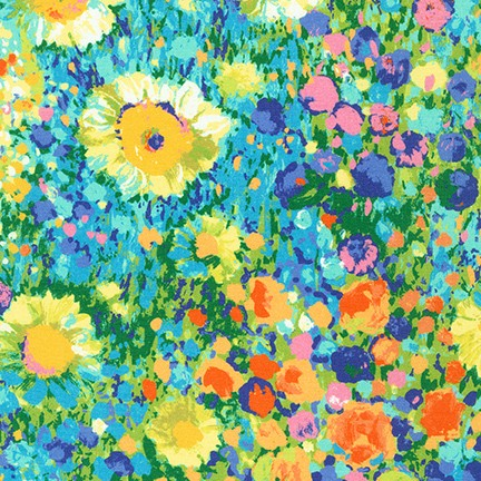 Quilting Fabric SRKD-19148-205 MULTI from the Painterly Petals Collection from Robert Kaufman Fabrics