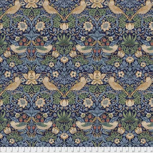 Fabric Strawberry Thief - Navy, from Kelmscott Collection, Original Morris & Co for Free Spirit, PWWM001.NAVYX
