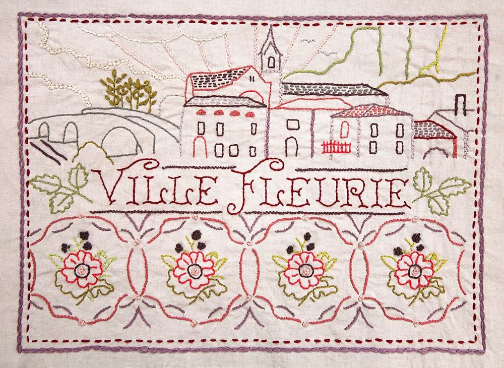 French General Embroidery Sampler pre-printed design on linen Ville Fleurie