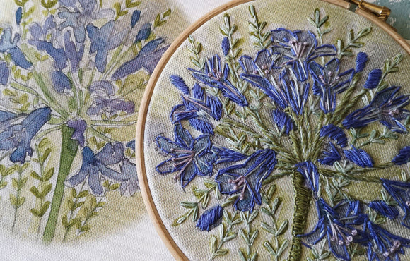 Annie Morris Embroidery Color Printed Linen Panel, AGAPANTHUS