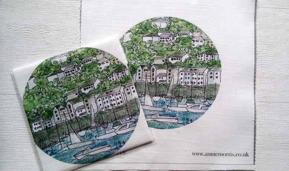 Annie Morris Embroidery Color Printed Linen Panel, KINGSWEAR DEVON