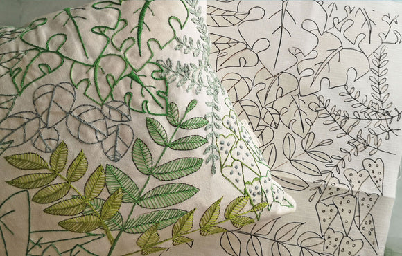Annie Morris Embroidery Color Printed LINEN LEAFY  Cushion Panel