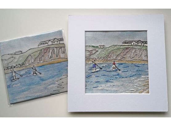 Annie Morris Embroidery Color Printed Linen Panel, PADDLEBOATERS in THURLESTONE