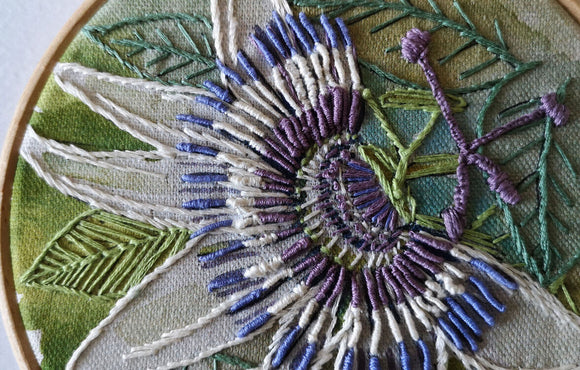 Annie Morris Embroidery Color Printed Linen Panel, PASSION FLOWER