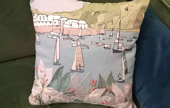 Annie Morris Embroidery Color Printed SALCOMBE Cushion Panel