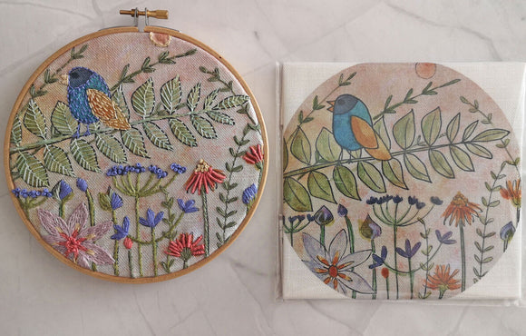 Annie Morris Embroidery Color Printed Linen Panel, SUMMER BIRDSONG