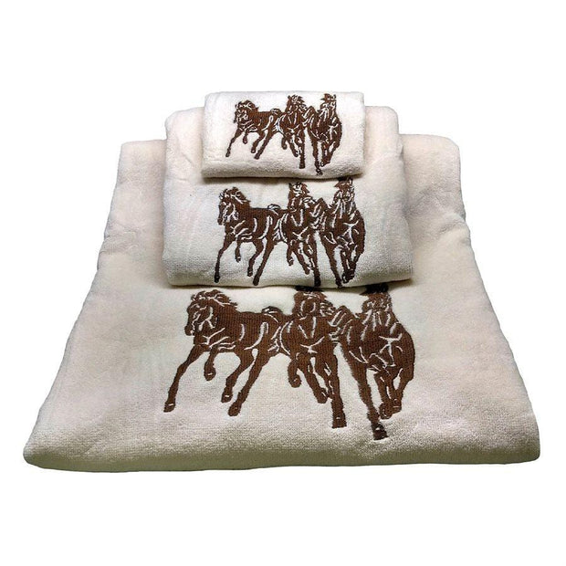 3-Horse 3-PC Embroidered Towel Set, Cream