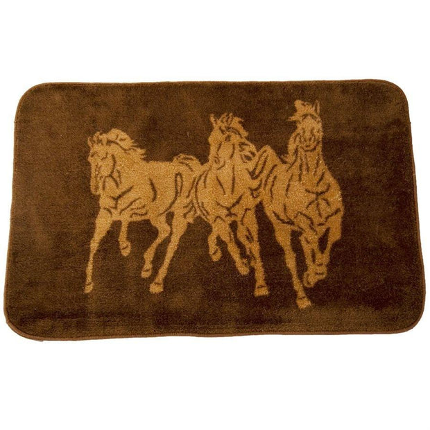 3-Horse Chocolate Kitchen/Bath Accent Rug