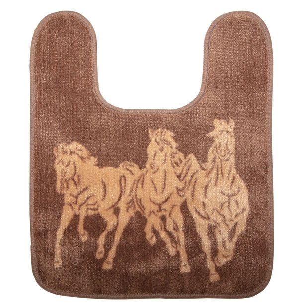 3-Horse Dark Tan Contour Bath Rug