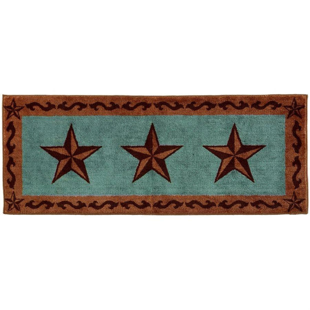 3-Star w/ Scroll Motif Kitchen/Bath Rug - Turquoise