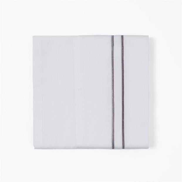 350 TC WHITE SHEET SET WITH GRAY STRIPE EMBROIDERY (QUEEN/ KING)