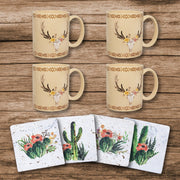 Desert Skull Bohemian Mug and Cactus Blooms Coaster 8 PC Set