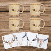 Desert Skull Bohemian Mug and Coaster 8 PC Set