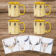 Large Arrow Bohemian Mug and Desert Skull Coaster 8 PC Set