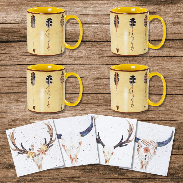 Large Arrow Mug and Desert Skull Coaster 8-PC Set