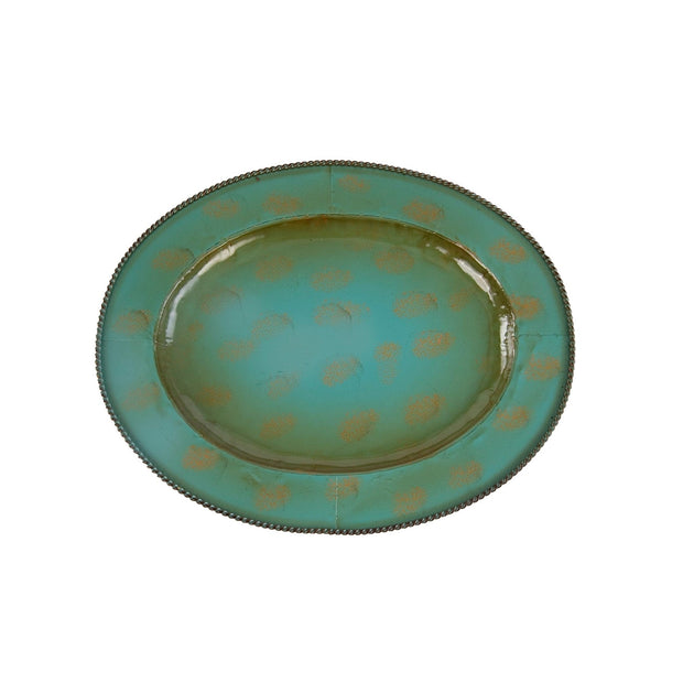"Oval Turquoise Iron Tray (1PC), 16.5"" Turquoise"