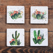 Desert Skull Mug and Cactus Blooms Coaster 8-PC Set