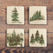 Bear Mug and Scenery Tree Coaster 8 PC Set