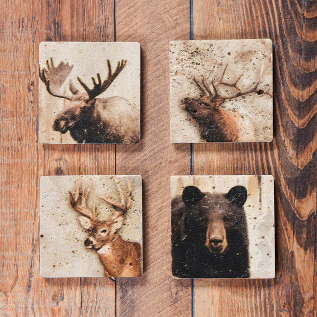 4 PC Lodge Animal Coaster Set