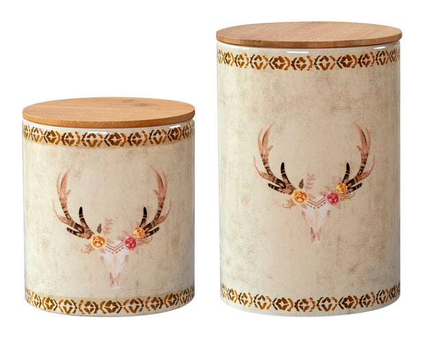 2-PC Skull Design Canister Set