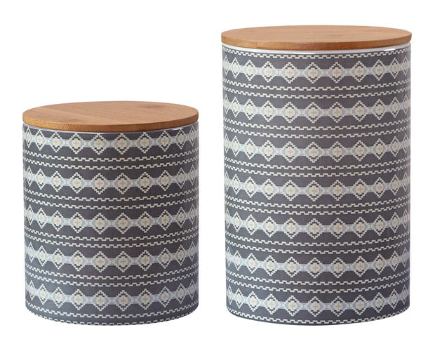 2-PC Large Aztec Design Canister Set
