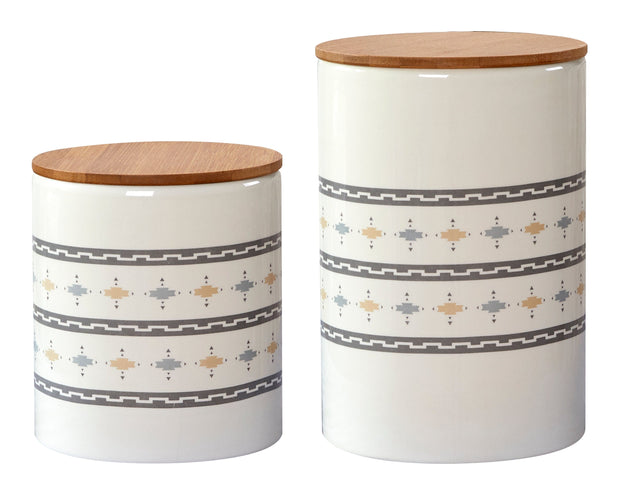 2-PC Small Aztec Design Canister Set