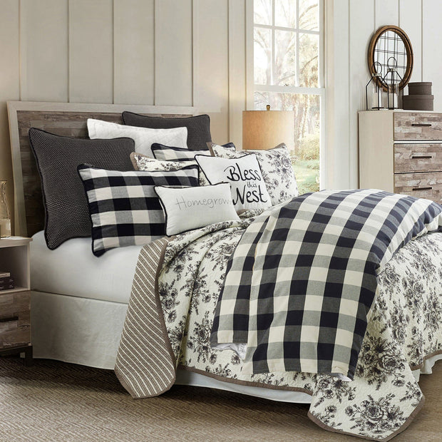 Camille 3-PC Farmhouse Bedding Set, Black & White