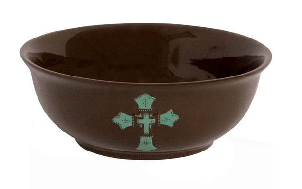 Chocolate Serving Bowl w/ Turquoise Cross (EA)