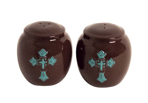 Chocolate Salt & Pepper Shaker Set, Turquoise Cross