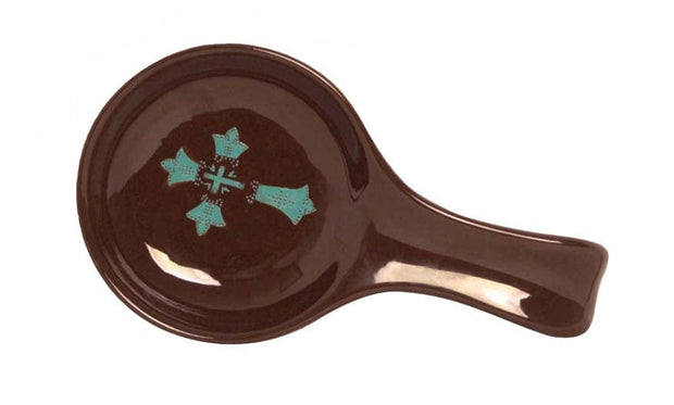 Chocolate Spoon Rest w/ Turquoise Cross (EA)