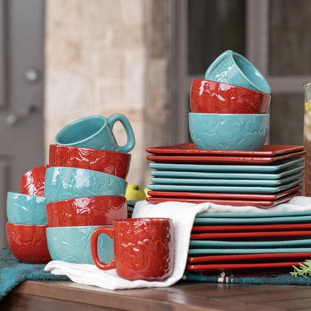 Savannah Canister Set with Base, Turquoise