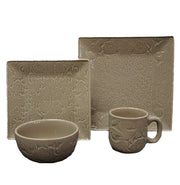 Savannah16-PC Dinnerware Set, Cream & Taupe