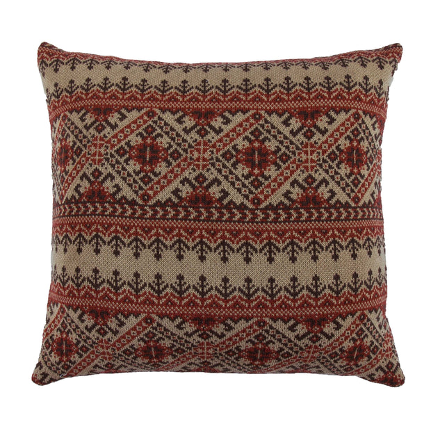 Fair Isle Knit Euro Sham - Red, Tan & Chocolate