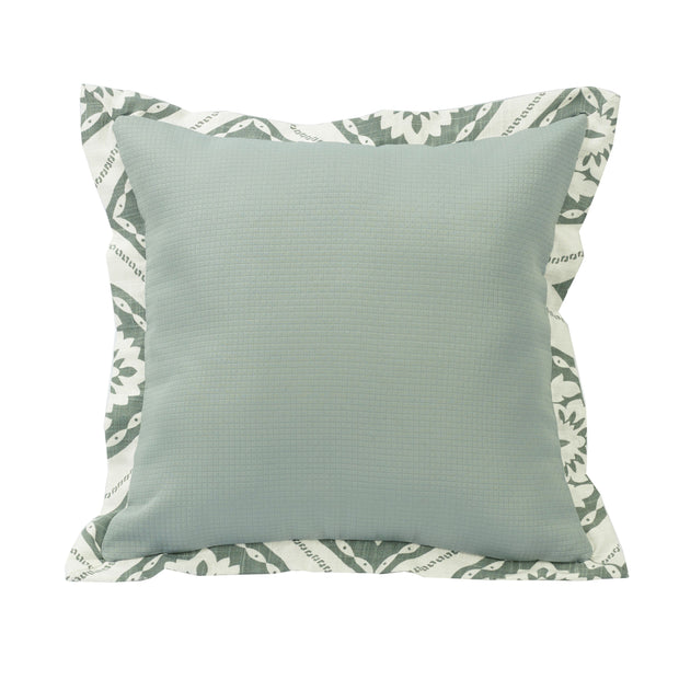 Belmont Textured Fabric Pillow w/ Graphic Print Flange, 18x18