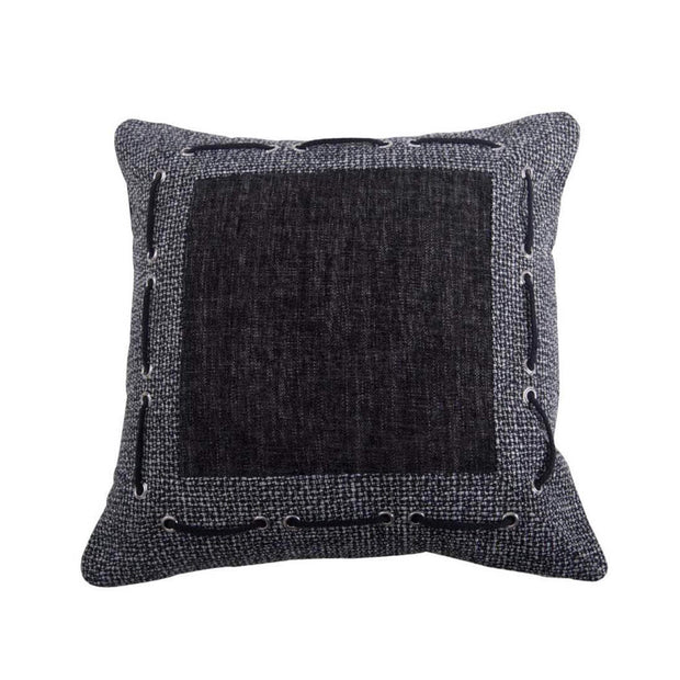 Hamilton Tweed & Chenille Pillow w/ Framing & Laced Rope, 18x18
