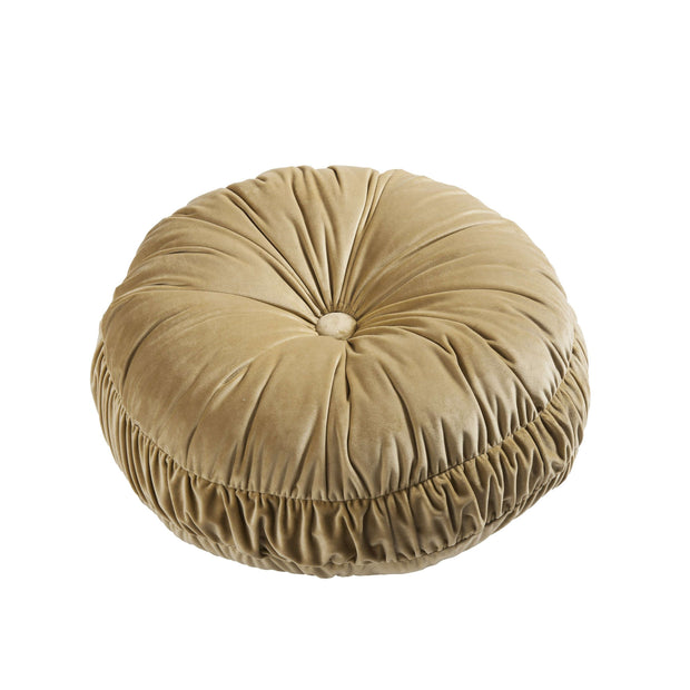 Loretta Plush Round Velvet Pillow, Gold, 18x18