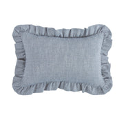 Chambray Ruffled Lumbar Pillow, Denim Blue, 12x18