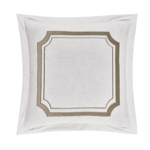 Madison Linen Euro Sham w/ Velvet Embroidery, 2 Colors