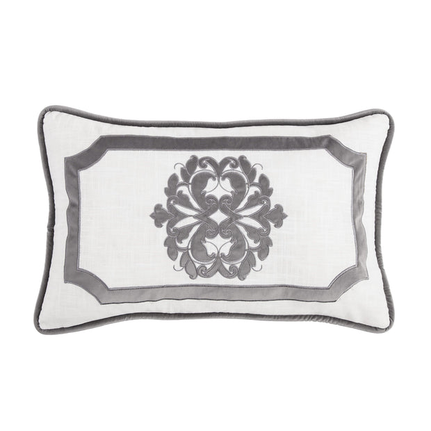 Madison Oblong White Linen Pillow w/ Velvet Embroidery. 2 Colors, 16x26