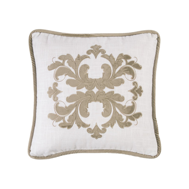 Madison White Linen Pillow w/ Velvet Embroidery, 2 Colors, 18x18