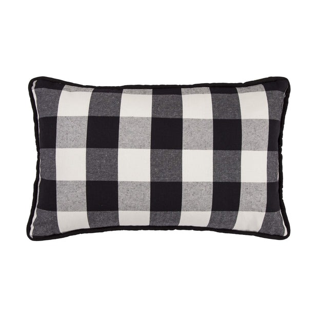 Blackberry Black & White Buffalo Check Lumbar Pillow, 16x26