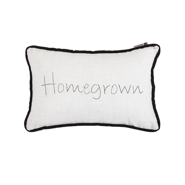 """Homegrown"" Embroidery Lumbar Pillow, 12x19"