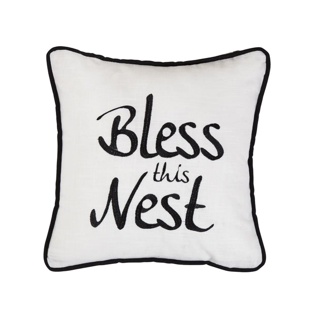 """Bless This Nest"" Embroidery Throw Pillow, 18x18"
