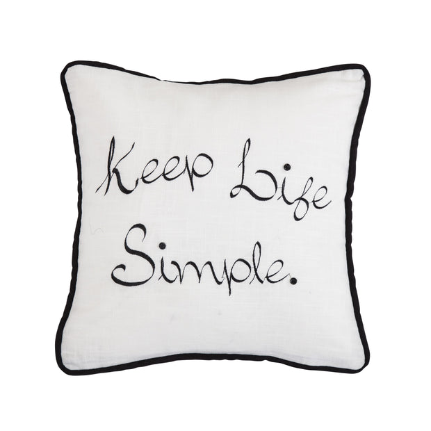 """Keep Life Simple"" Embroidery Throw Pillow, 18x18"