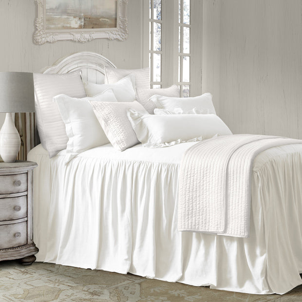 "Luna Bedspread Set w/ Drop Skirt, White (33"" Drop)"