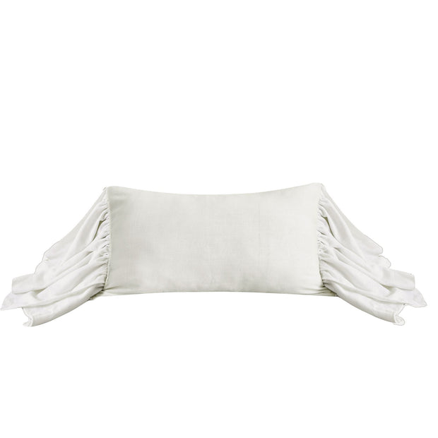 Washed Linen Long Ruffled Pillow, 5 Colors, 16x26
