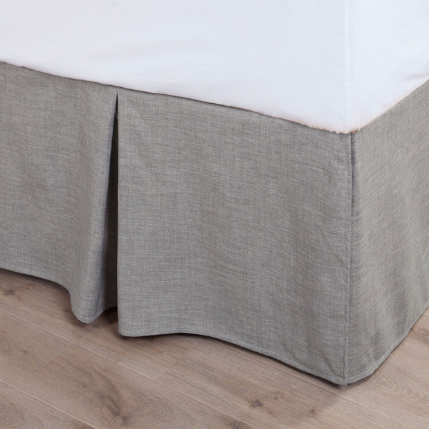 Solid Taupe Linen Bed Skirt