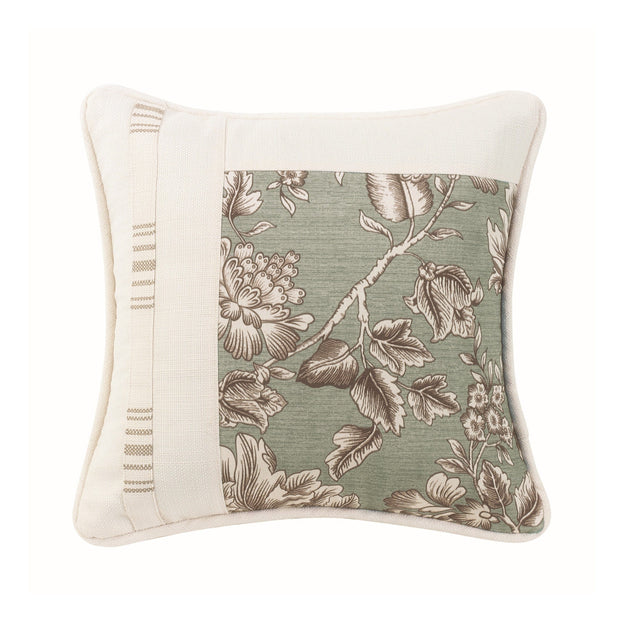 Gramercy Square Pieced Pillow w/ Floral, Stripe & White Linen Texture, 18x18