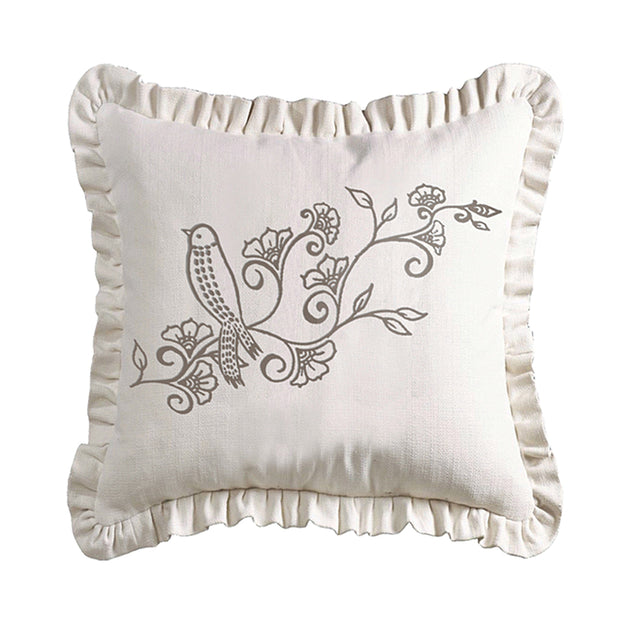Gramercy White Linen Weave Ruffled Pillow w/ Embroidery Detail, 20x20